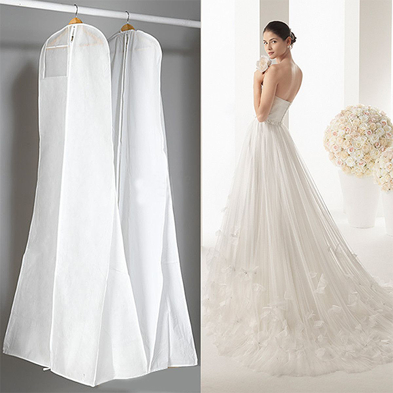 Black White Wedding Dress Cover Bridal Garment Long Clothes Waterproof Dustproof Storage Bag For Protesting Garment Bag ...