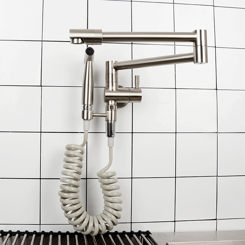 Brass Kitchen Faucet Single Cold Tap With Bidet Sprayer Black Kitchen Sink Tap Brushed Nickel Fold Tap Wall Mounted Chrome