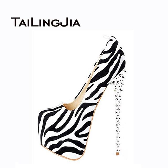 2016 Модная Обувь Женщина Насосы Сексуальная Leopard Зебра Туфли На Каблуках Заклепки Украшения Ручной Работы Женская Обувь США Размер 4-15