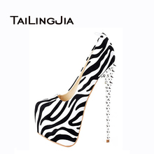 2016 Fashion Shoes Woman Pumps Sexy Leopard Zebra High Heels Shoes Rivets Decoration Handmade Woman Shoes US Size 4-15