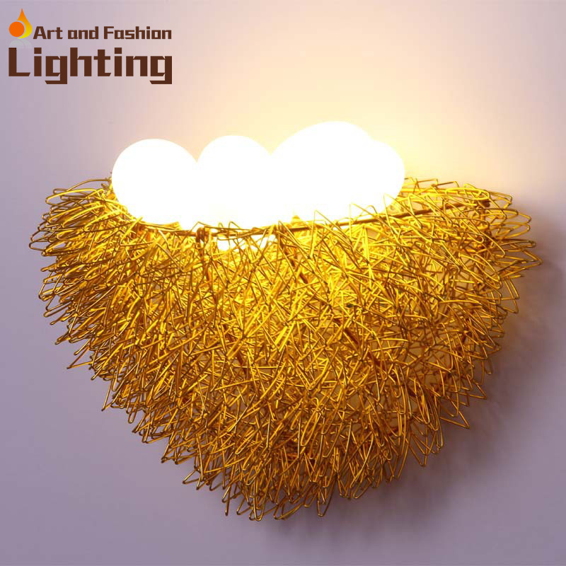 ФОТО Special birds nest design wall lamp cute children room egg lamp handcrafts aluminium wire made night light