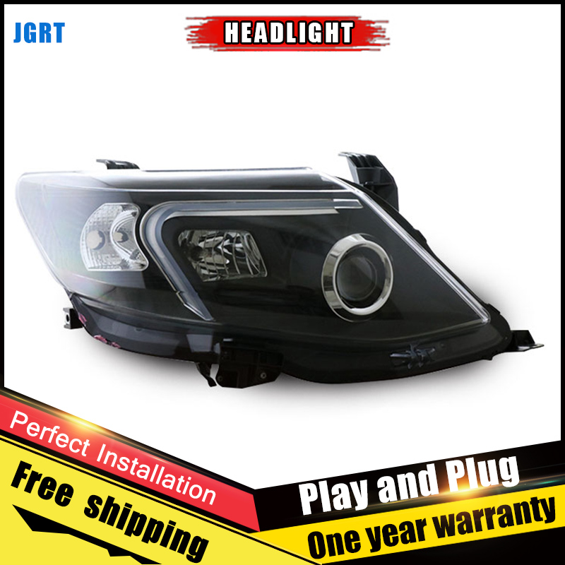 2PCS Car Style LED headlights for Toyota Fortuner 2011-2015 for head lamp LED DRL Lens Double Beam H7 HID Xenon bi xenon lens hireno headlamp for 2003 2009 toyota land cruiser prado headlight assembly led drl angel lens double beam hid xenon 2pcs