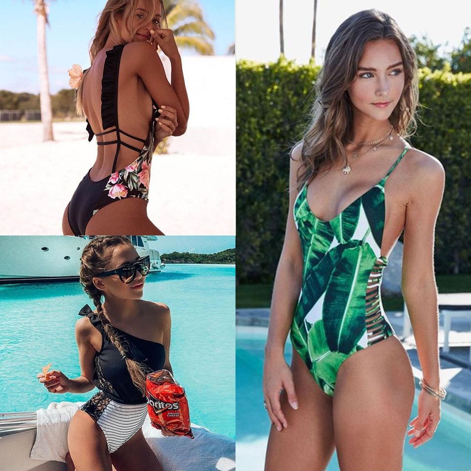 2019 Sexy One Piece Swimsuit Women Swimwear Green Leaf Bodysuit Bandage Cut Out Summer Beach Bathing Suit Swim Monokini Swimsuit|Body Suits|   - AliExpress