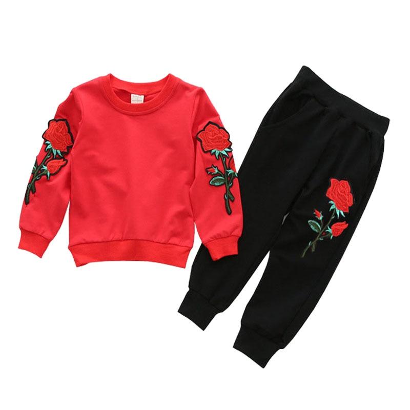 Meiteņu apģērbu komplekti 2019 pavasara sporta apģērbi garām piedurknēm rožu ziedu izšūti sequinsets bērnu apģērbu komplekti