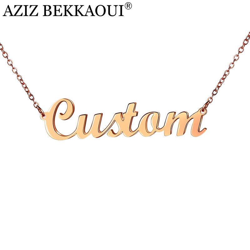 AZIZ BEKKAOUI Acero inoxidable personalizada nombre Collar para las mujeres Rosa Color oro personalizado collar pendiente regalo de la joyería Dropship