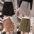 Fall and winter models half-step high-waist deerskin cashmere package hip skirt fashion wild A word short skirt