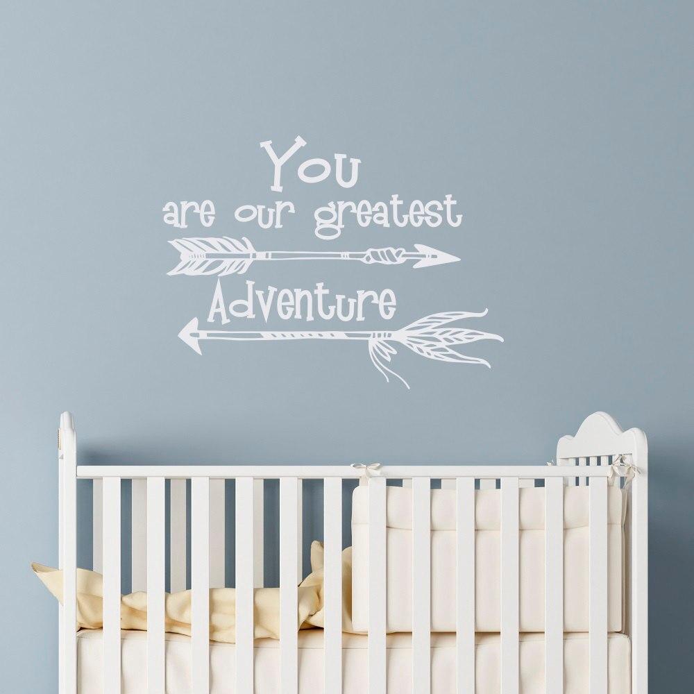 US $5.42 32% OFF|Kindergarten Wandtattoos Zitieren Sie Sind Unsere Größte  Abenteuer Wandaufkleber Sprüche Kinderzimmer Schlafzimmer Pfeil Wandkunst  ...