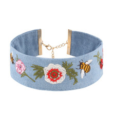 2017 New Trend Vintage Handmade Embroidery Bee Flower Denim Wide Choker Necklace Women Collares Gift Gothic Maxi Ethnic Jewelry