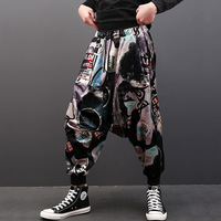 New Fashion Mens Hip Hop Casual Joggers Pants Loose Casual Harem Pants Men Skeleton Printing Trousers