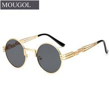 MOUGOL New Fashion Retro Steampunk Round Metal Sunglasses for Men and Women Double Spring Leg Colorful Eyewear UV400