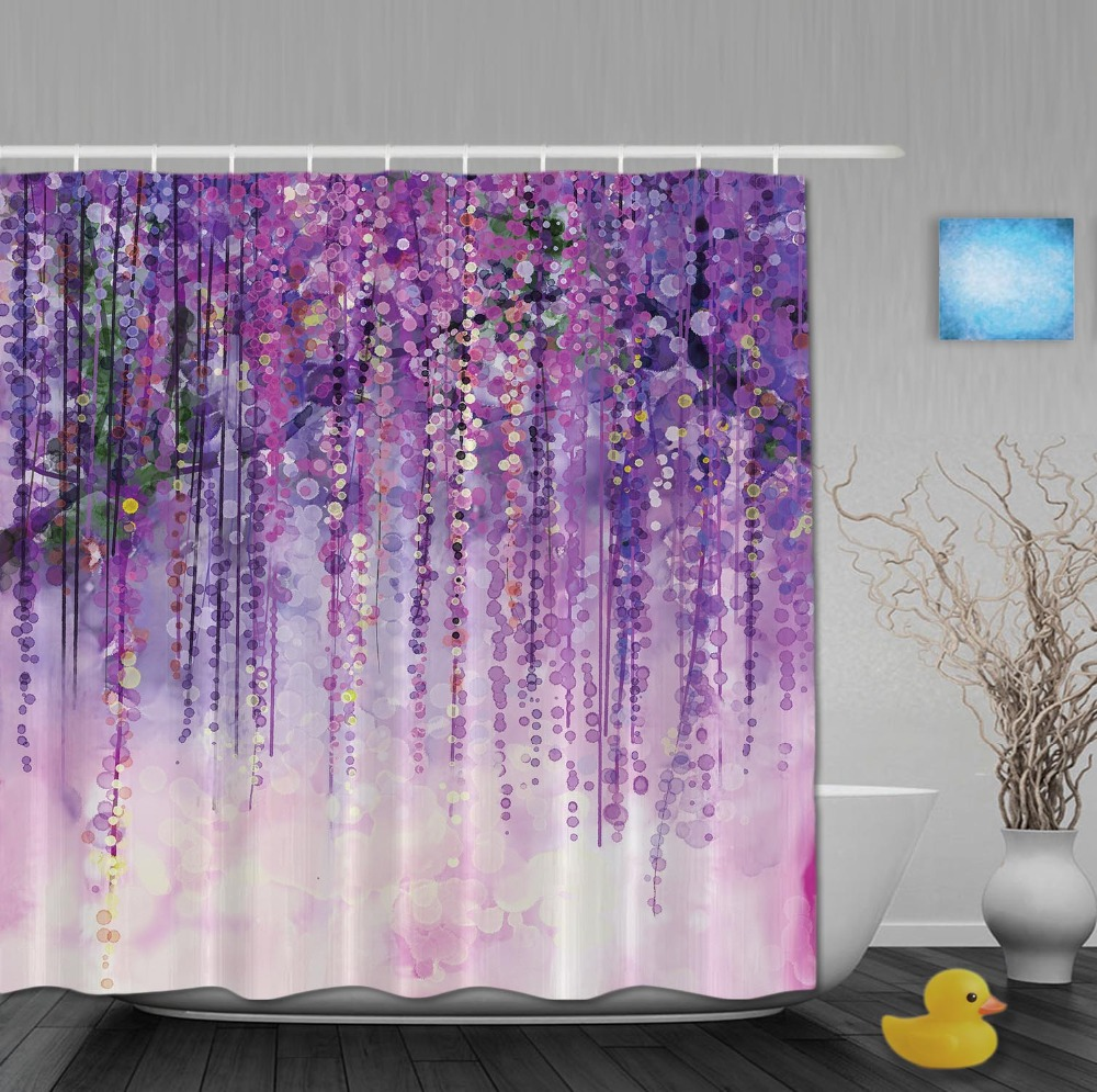 Art Printing Shower Curtain Spring Landscape Purple Floral Bathroom Curtains Mildew Polyester Fabric