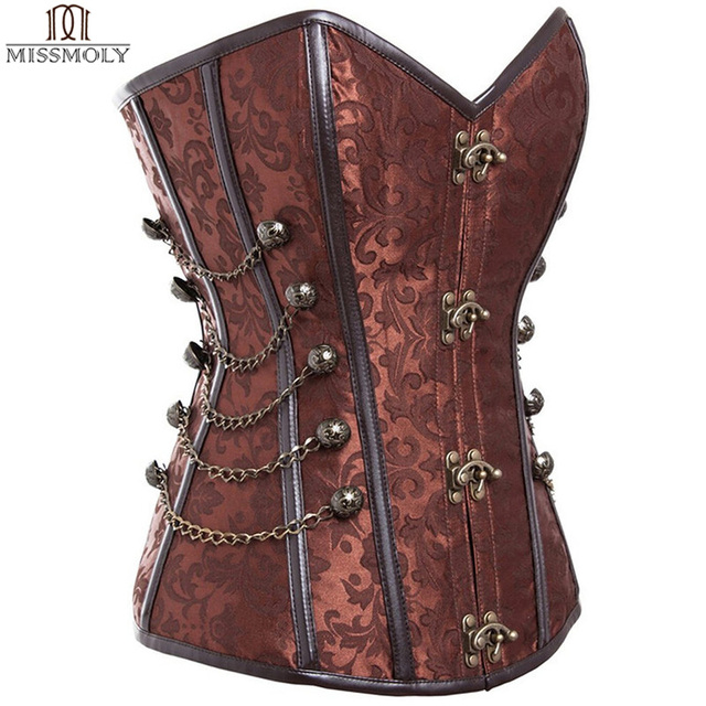 Gothic Steel Boned Corset Steampunk Waist slimming Lace Up Corsets and Bustiers Top Buckle Women Overbust Corselet Burlesque TYQ
