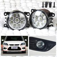 New 2pcs Round Front Right Left Fog Lamp DRL Daytime Running Driving Lights For Ford Focus