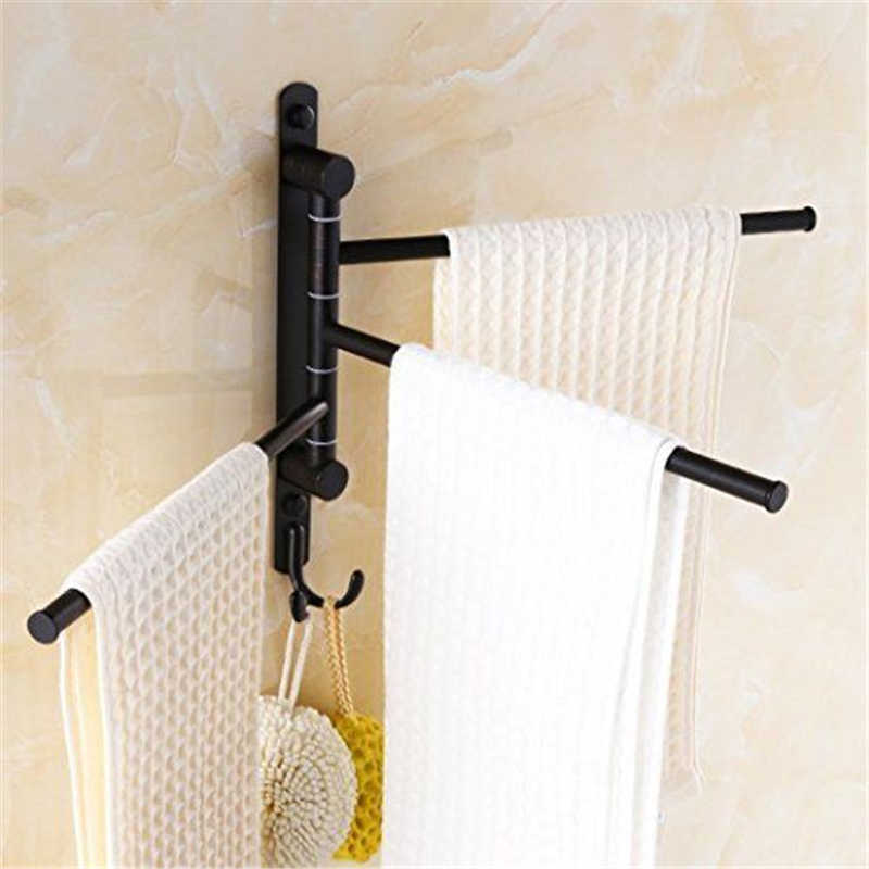 Wall Mounted Swing Out Towel Racks for Bathroom Towel Hanging Holder Oil Rubbed Bronze Towel Bars with Hooks 3-Arm free shipping single layer towel racks with hooks plastic towel holder wall powerful suction cup bathroom towel shelf