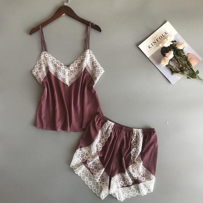 BZEL New Summer 2 Pcs Pajamas Set Sexy Lace Pijama Verano Mujer Women Homewear Suit Pyjama Satin Femme Tops And Shorts Plus Size