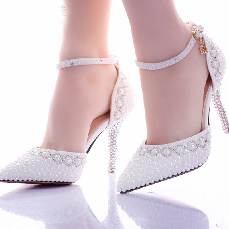 Charming Fashion Handmade White Pearl Wedding Shoes Pointed Toe Ankle Strap Bridal  Dresses Shoes Women Party Prom Shoes Rhinestone Pumps In Womenu0027s Pumps From  Shoes ...