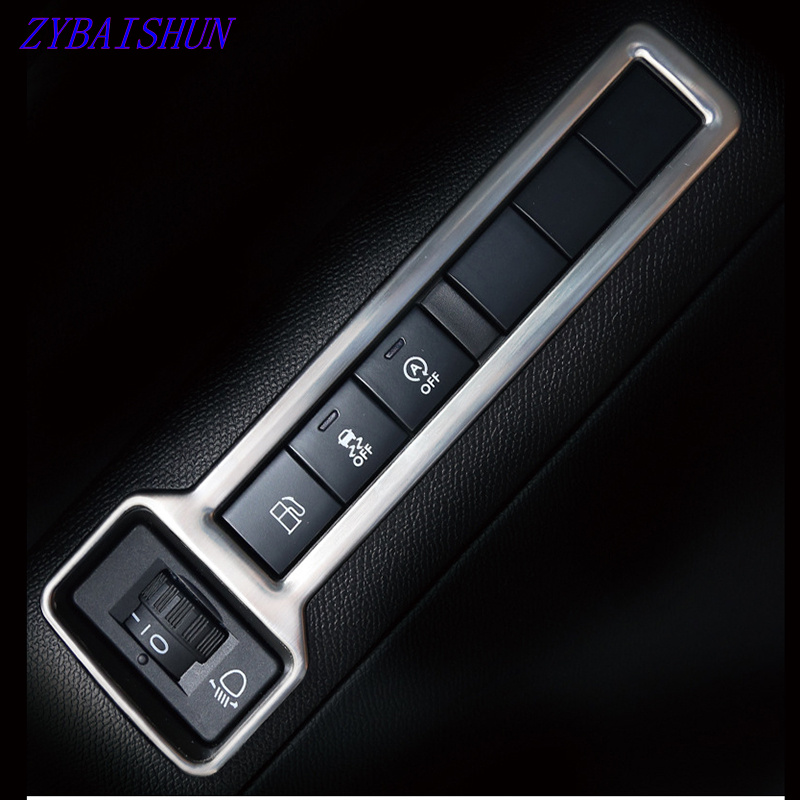 ZYAISHUN Car Accessories Stainless Steel Headlight Switch Decoration Cover For Peugeot 308 T9 2015 2016 2017