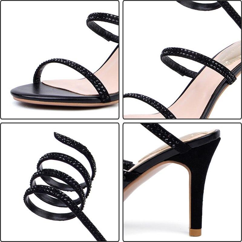 Chaussures Cuir Serpents Stiletto Élégant Gladiateur En Glitter apricot Véritable Noir Lacets Fanyuan Femmes Talons Black Sandales D'été bfg76y