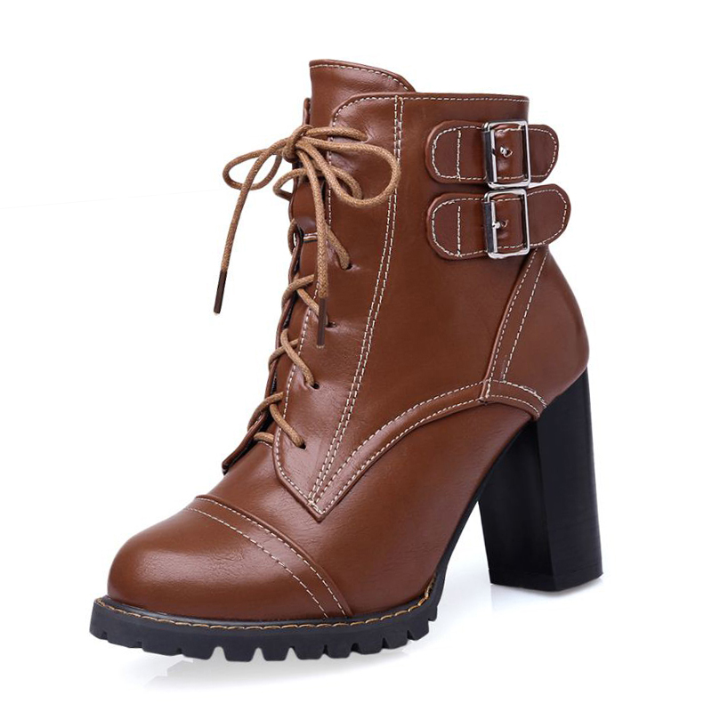 Plus Size 34-47 Elegant Thick High Heels Buckle Short Boots Lace Up Skid Proof Platform Motorcycle Fall Winter Shoes Woman plus size 34 43 2016 patch color ankle boots thick high heels skid proof platform shoes woman rivets lace up fall winter boots