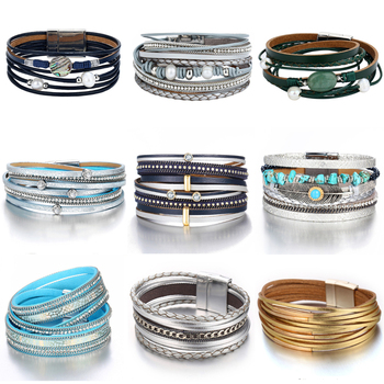 Vintage Multiple Layer Leather New Bead Pearl Charms Wrap Bracelets 1