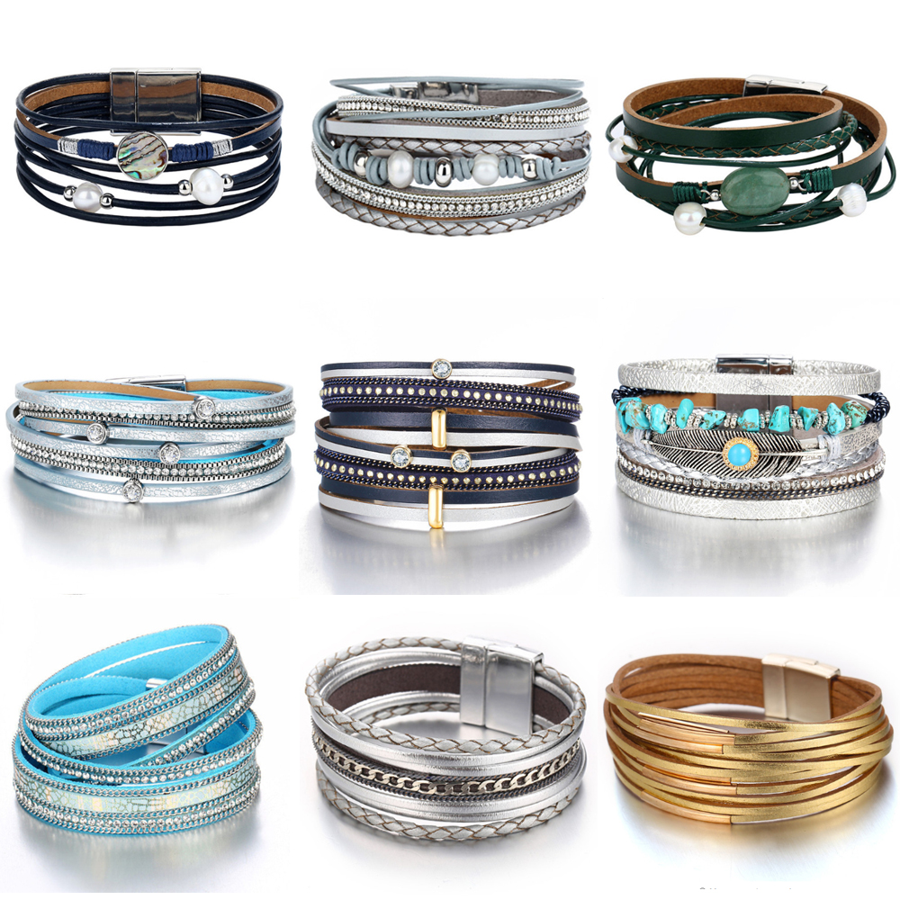 Women's Design Vintage Multiple Layer Leather Bracelet Bracelets Jewelry Women Jewelry