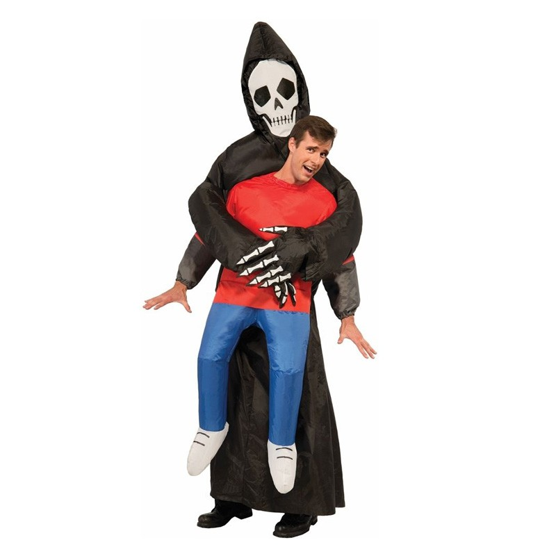 grim reaper scary suit inflatable illusion skull adult halloween costumes for women men cheap ghost skeleton - Cheap Creepy Halloween Costumes