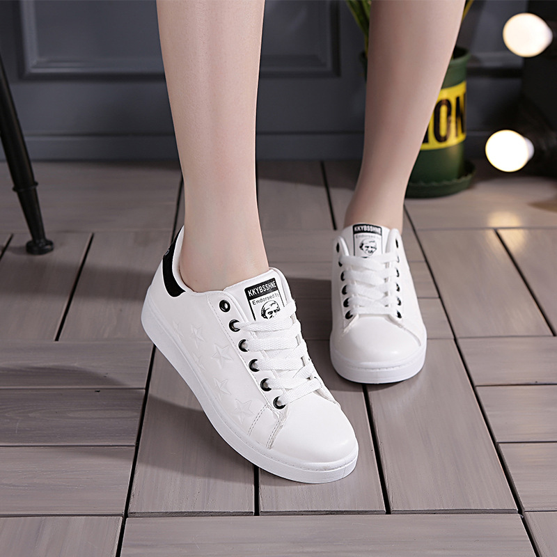 2019 Women Sneaker Sports Shoes for Women Running Shoes Ladies Shoes Walking Student White Shoes PU Leather Breathable EU Size