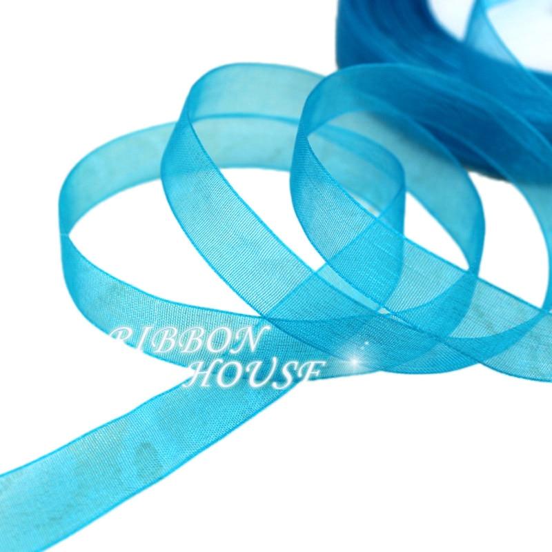 (50 ярдов/рулон) 1/2 »(12 мм) голубое озеро органзы лентами оптовая продажа подарочной упаковки украшения Рождественские Ленты