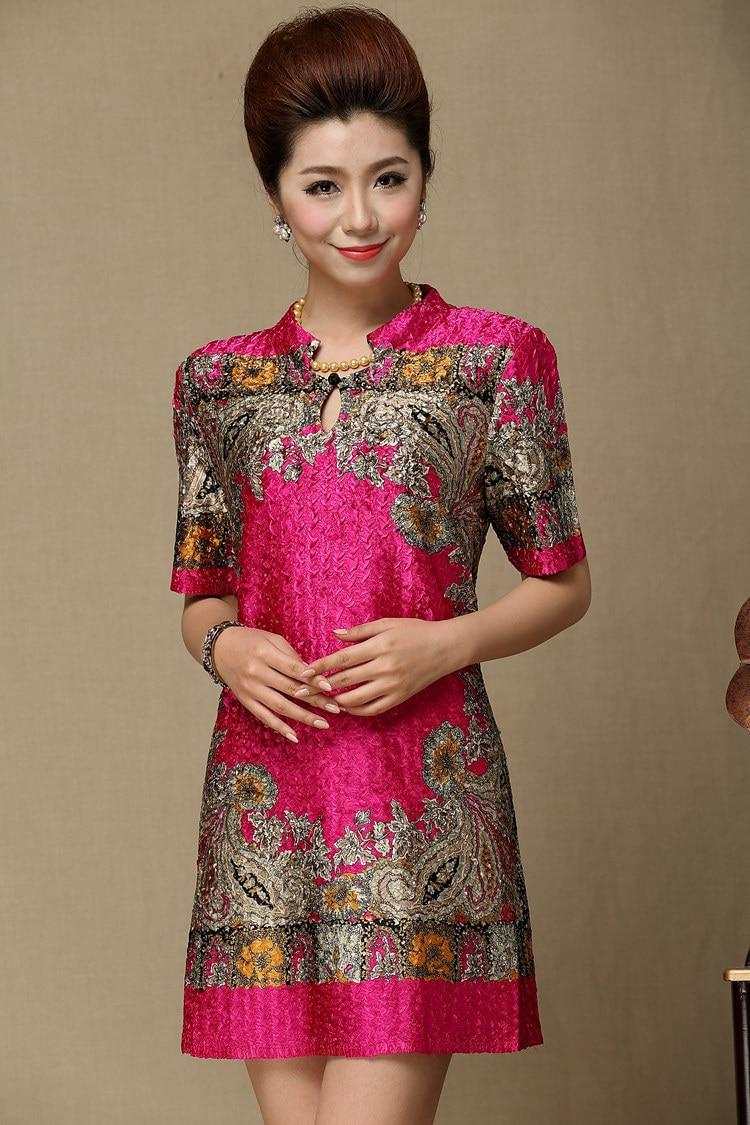 Rose Courtes Ans 2019 Parti Vintage Chinois Stylemiddle Femmes Ac948 Imprimé Red Taille Plus Manches Mode Floral Nouveau Robes Iqp8T
