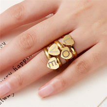 1pc Gold Silver Color Heart Letters Rings For Women DIY Name Ring Set Female Statement Engagement Party Jewelry Gift