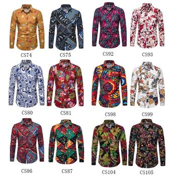 New model Shirts Social Long-sleeved Plus size Slim fit Fashion Flower Blouse Men Linen Shirt for Casual Floral