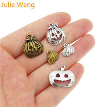 Julie Wang 5-25PCS Mixed Vintage Halloween Pumpkin Antique Silver/Bronze Charms Necklace Pendant Jewelry Making Accessory(China)
