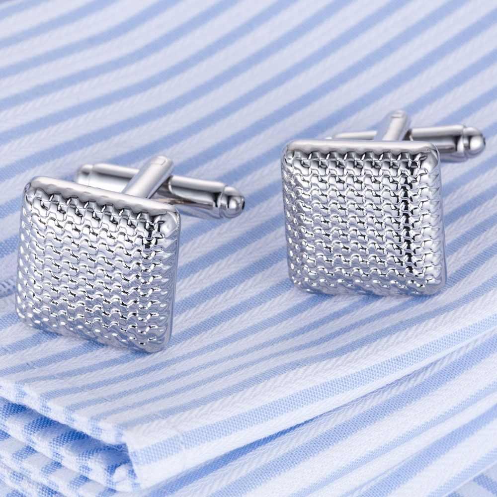 Горячая Распродажа запонок, классические запонки, манжеты серебристого цвета, свадебный подарок для влюбленных, запонки Gemelos, Прямая поставка, мужские ювелирные изделия 10170