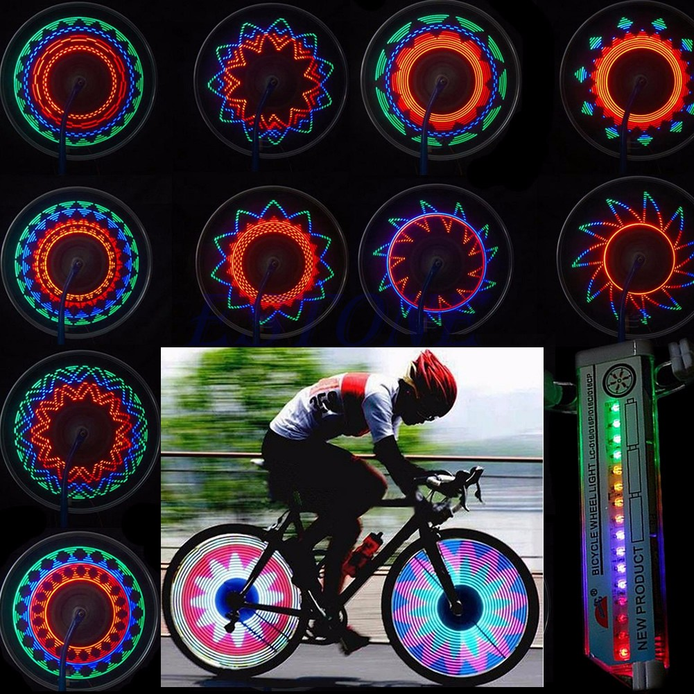 16 LED waterproof Car Motorcycle Cycling Bike Bicycle Tire Wheel Valve Flashing Spoke Light 30 kinds of pattern Bike accessories