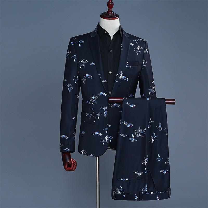 2020 Male Gentleman Groom Dress Suit Suits Show Male Host MC DJ Studio Theme Printing Two Birds