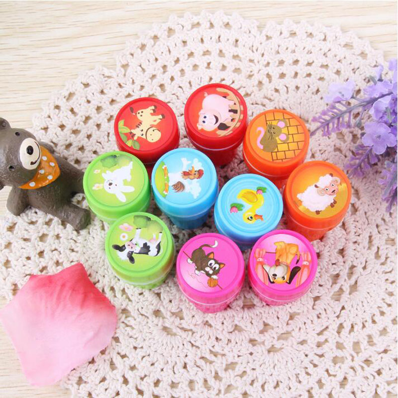 1pcs Cute Farm Animals Seal Round Plastic Cartoon Bring Inkpad Seal Toy School Office Party Favors Kids Educational Stationery
