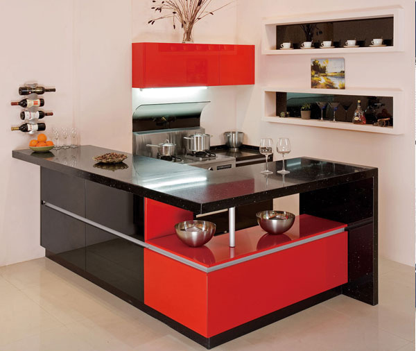 Red And Black Kitchen Cabinet-in Kitchen Cabinets From
