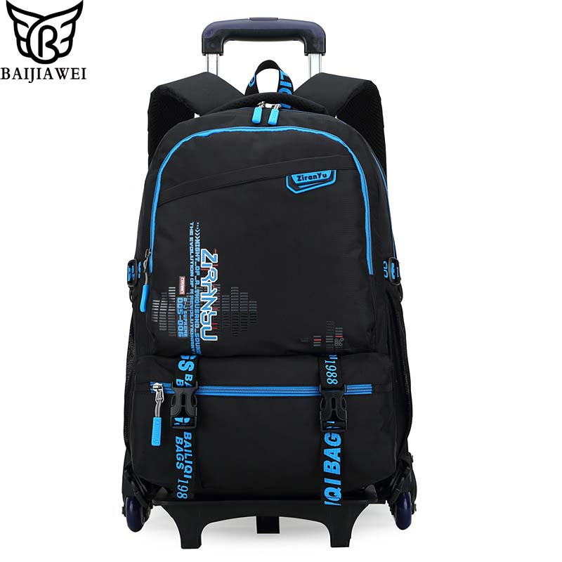 BAIJIAWEI Six Wheels Childrens Trolley Backpack Removable Children School Bags Primary School Boys And Girls Wheeled Backpack