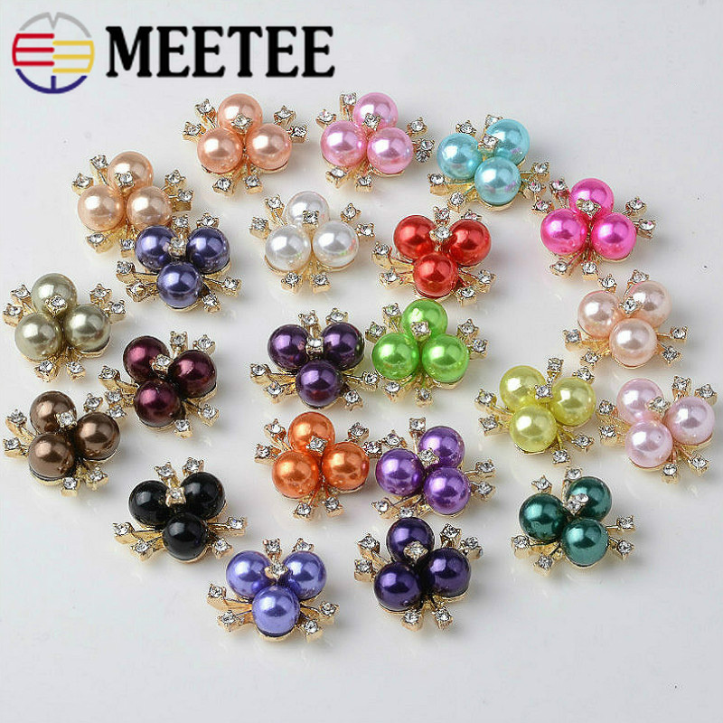 Meetee 30pcs 2*2cm Color Flower Alloy Pearl Button Bag Accessories Decorative Buckle DIY Handmade Craft Sewing Materials CN012