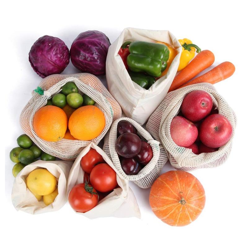 9 pièces/ensemble réutilisable coton maille produire des sacs fruits légumes Shopping organiser sac lavable Durable épicerie fourre-tout porter pochette sac
