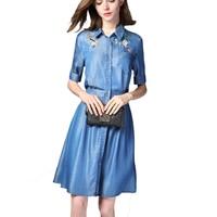 QKXAJO plus size 3xl 2019 Denim Dress Shirt Women Autumn dress jeans embroidery vestido festa washed blue Denim Dress Women