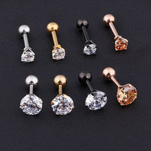 Medical titanium steel zircon earrings Size 3/4/5/6mm Star Crystal Cartilage Earring ear Piercing DIY Top Body Jewelry(China)