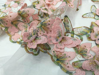1yard pink lace fabric, heavy embroidered lace fabric with 3D butterflies, bridal lace fabric, haute couture lace fabric,