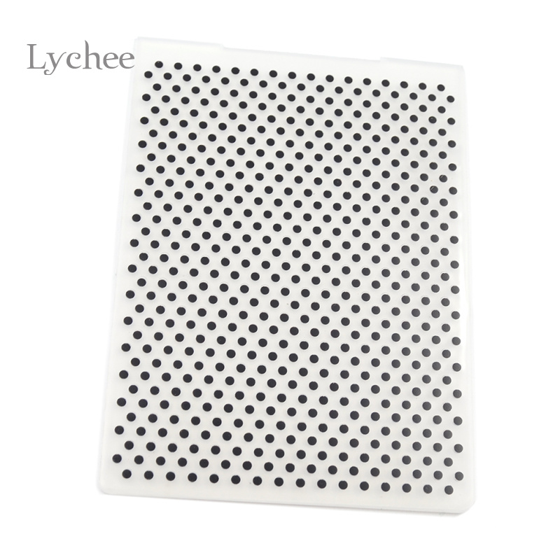 Lychee Plastic Embossing Folder pentru Scrapbook DIY Album Card Tool Plastic șablon ștanțare rotundă Dot Pattern