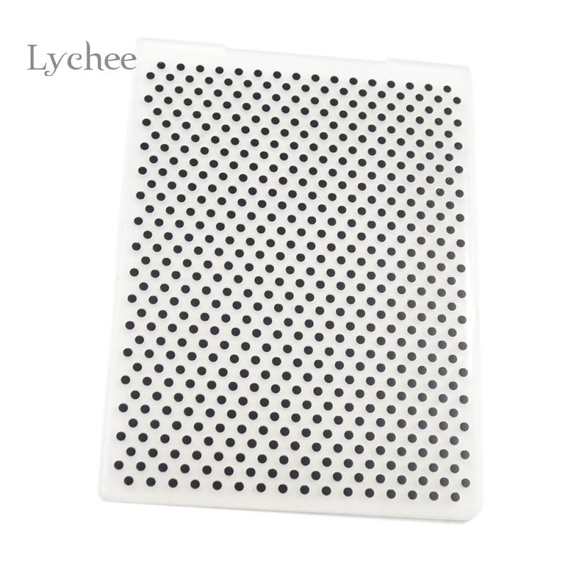 Lychee Plastic Embossing Folder For Scrapbook DIY Album Card Tool Plastic Template Stamping Round Dot Pattern