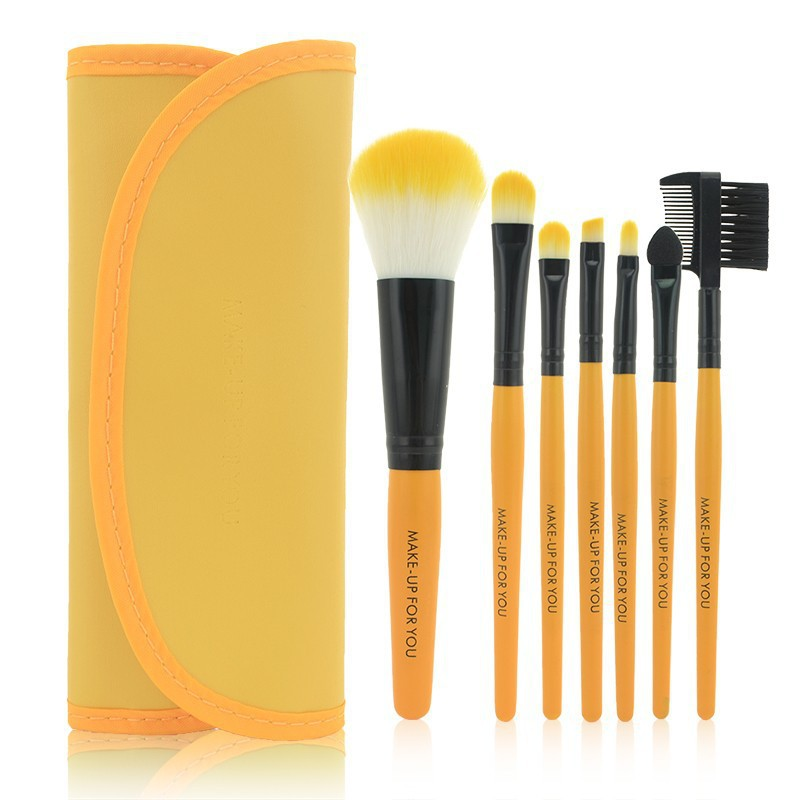 1Set Professional 7 pcs Yellow Makeup Brush Set tools Make-up Toiletry Kit Wool Brand Make Up Brush Set Case Free Shipping 147 pcs portable professional watch repair tool kit set solid hammer spring bar remover watchmaker tools watch adjustment