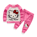 New top quality baby girl clothing sets cartoon infant kids cotton casual hello kitty long-sleeved T-shirt+Pants suit Tracksuit