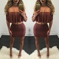 Women Off Shoulder 2 Piece Bodycon Dress Sexy Hollow Out Short Sleeve Ruffles Tops With Short Mini Dresses Plus Size Vestidos