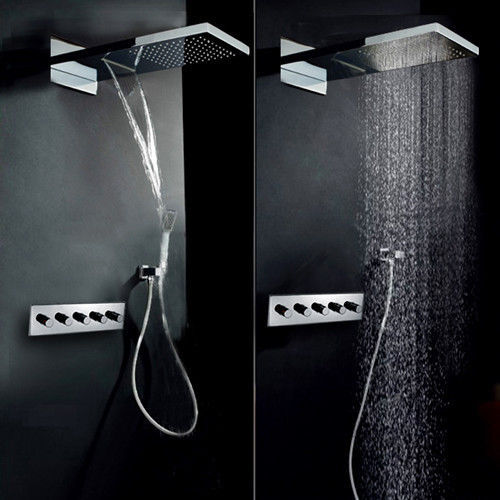 solid brass bath waterfall rain shower head hand shower system in chrome finishwall mounted