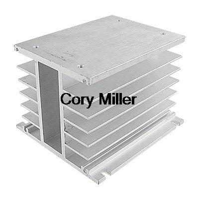 SSR 3 Phase Solid State Relay Heat Sink Silver Tone Aluminum Heatsink ssr 40da single phase solid state relay white silver